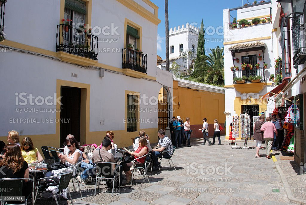 Pavement cafe in the old town, Seville. stock photo
