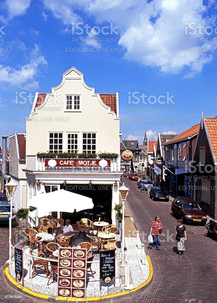 Pavement cafe, Volendam. stock photo