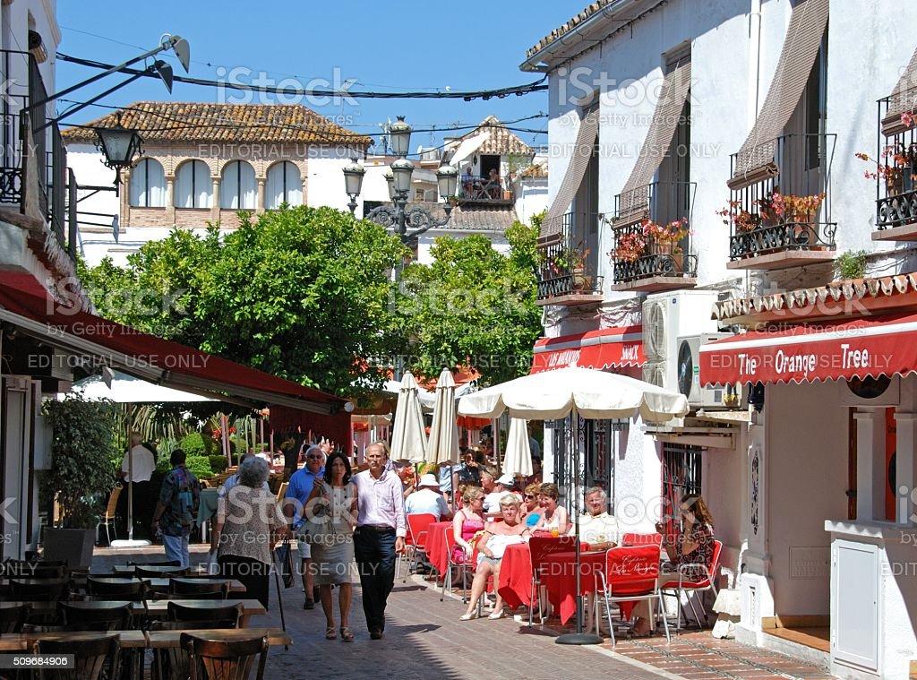 Pavement cafes, Marbella. stock photo