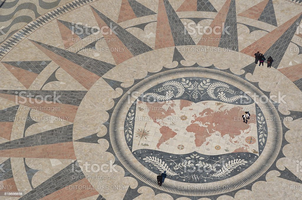 Pavement Compass in front of the Monument to the Discoveries stock photo