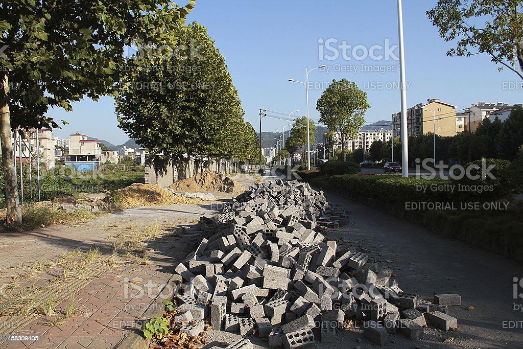Pavimentazione costruzione, Cina foto stock royalty-free