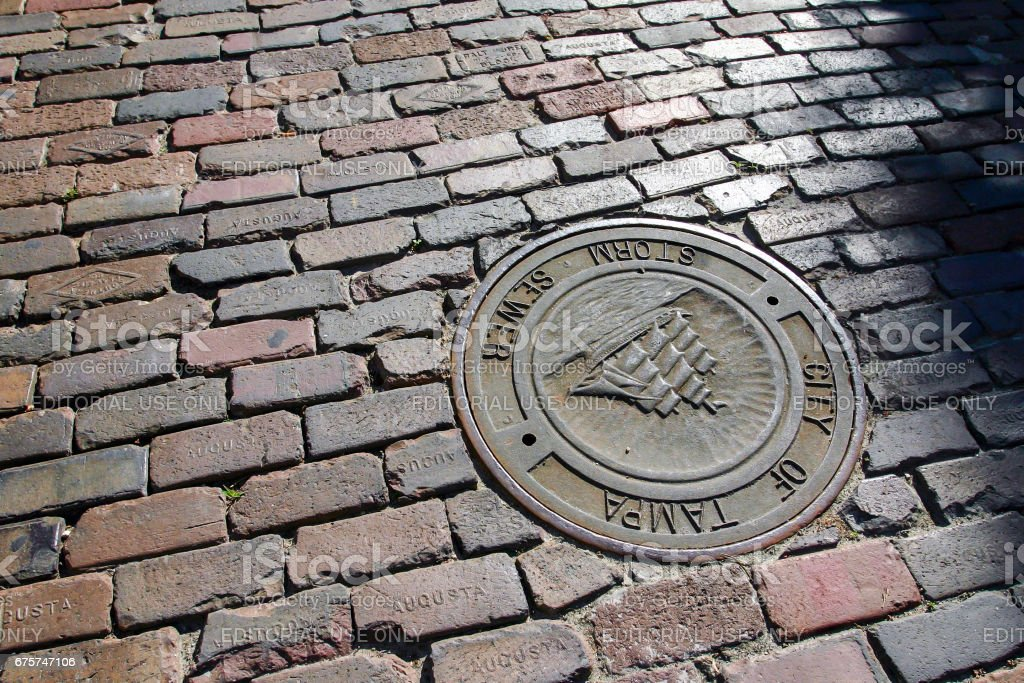 Pavement of brics in old town center Tampa city stock photo
