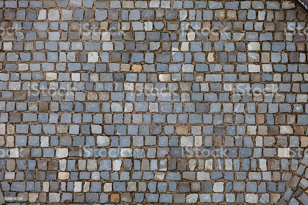 pavement of granite blocks. stock photo