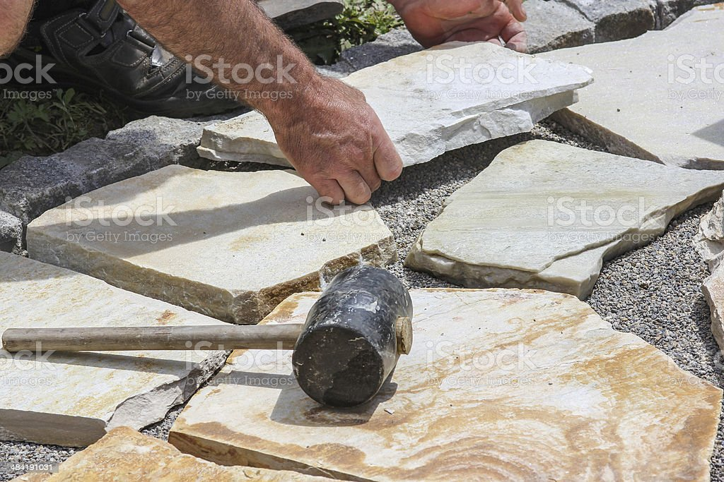 Paver with marble plates stock photo