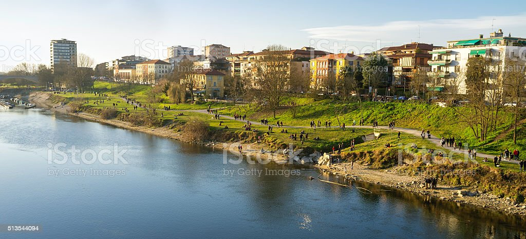 Pavia, the Ticino river shores. Color image stock photo