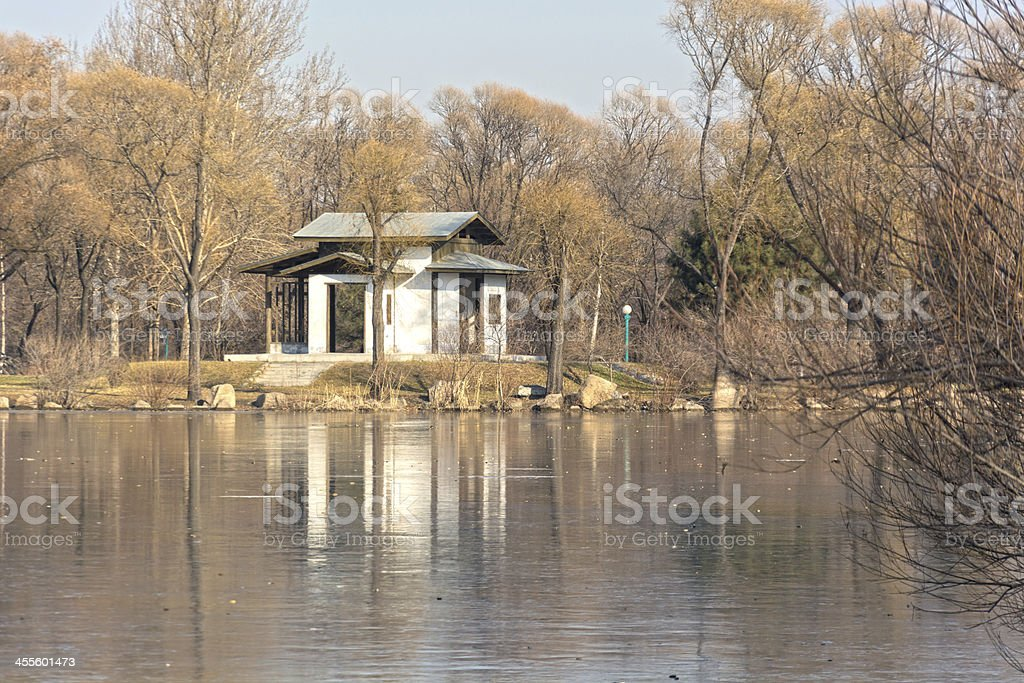 Pavilion and frozen lake stock photo