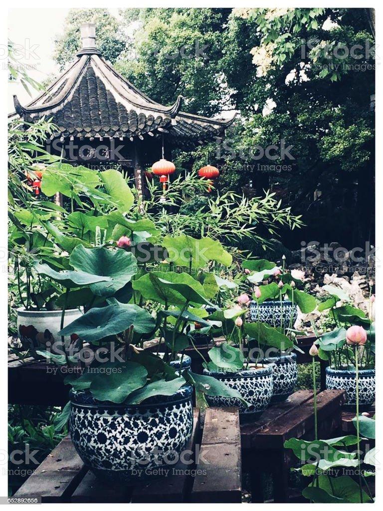 Pavilion at Geyuan Garden in Yangzhou stock photo