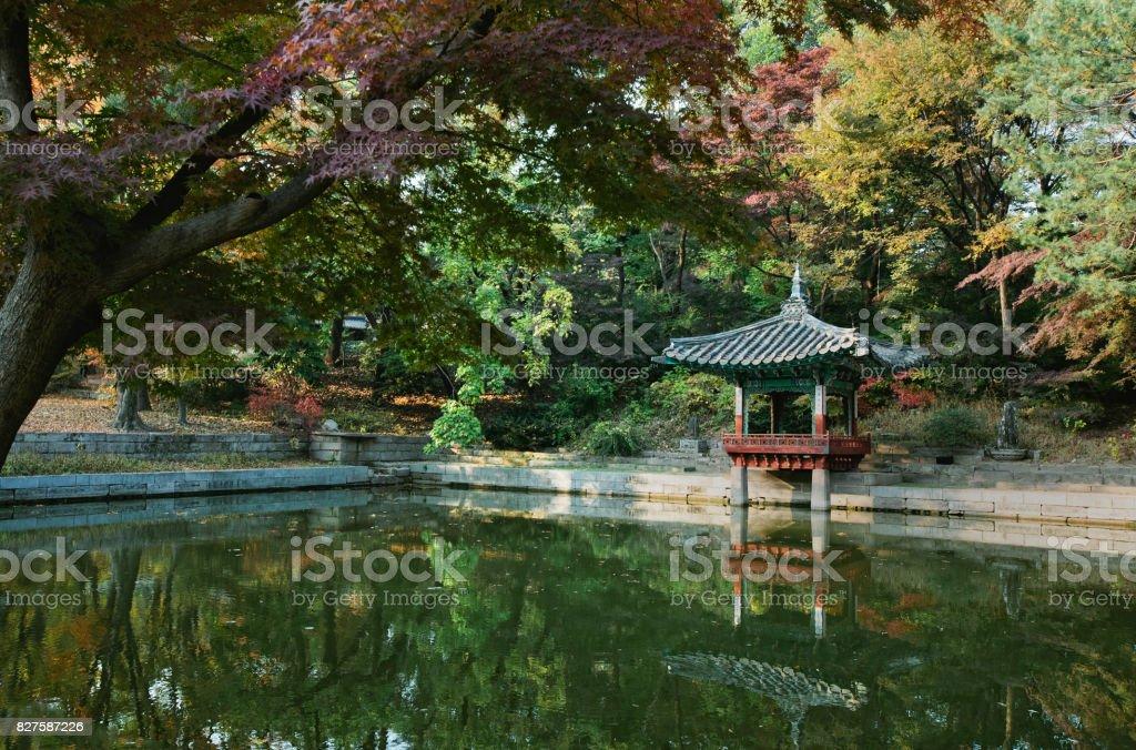 Pavilion at Secret Garden at Changdeokgung Palace, Seoul stock photo