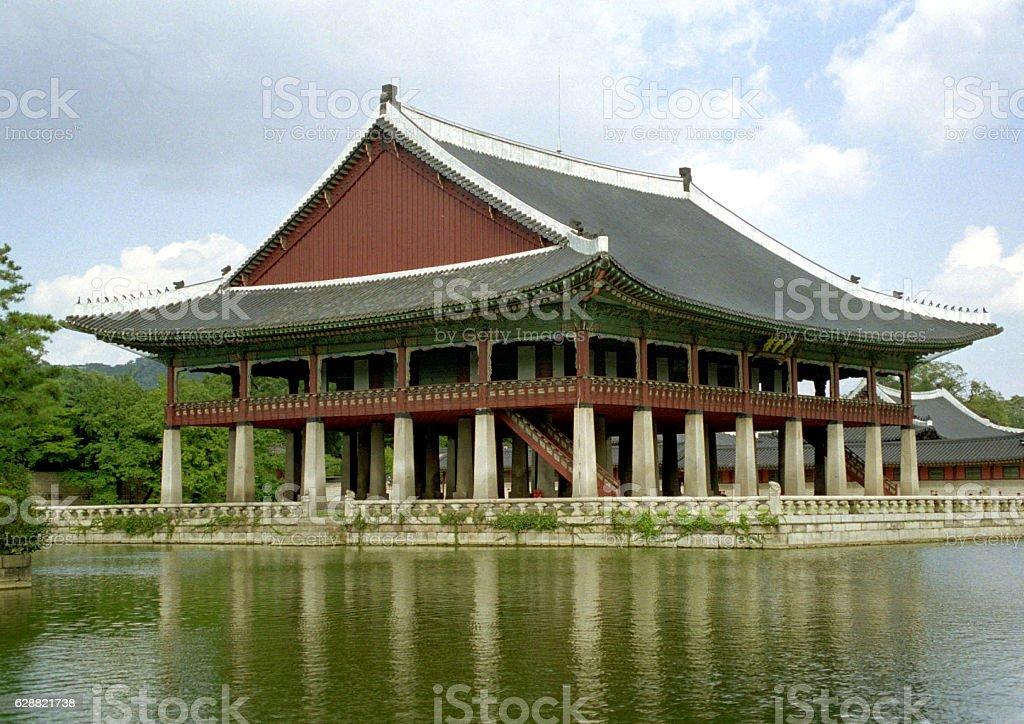 Pavilion besides a pond in palace stock photo