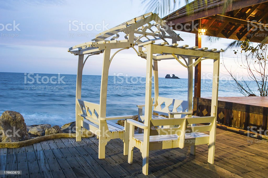 pavilion by the sea stock photo