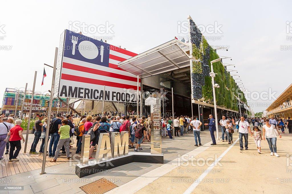 USA pavilion exterior view at Expo 2015 stock photo
