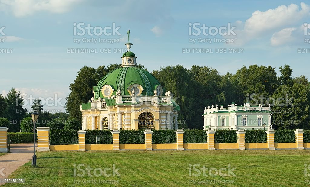 Pavilion Grotto and Italian house stock photo