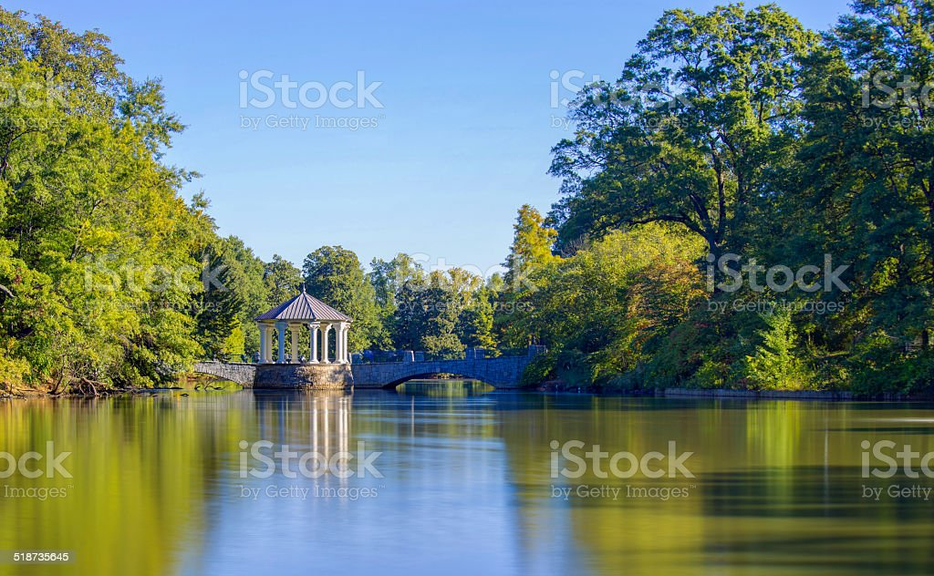 Pavilion in Atlanta Downtown with reflection stock photo