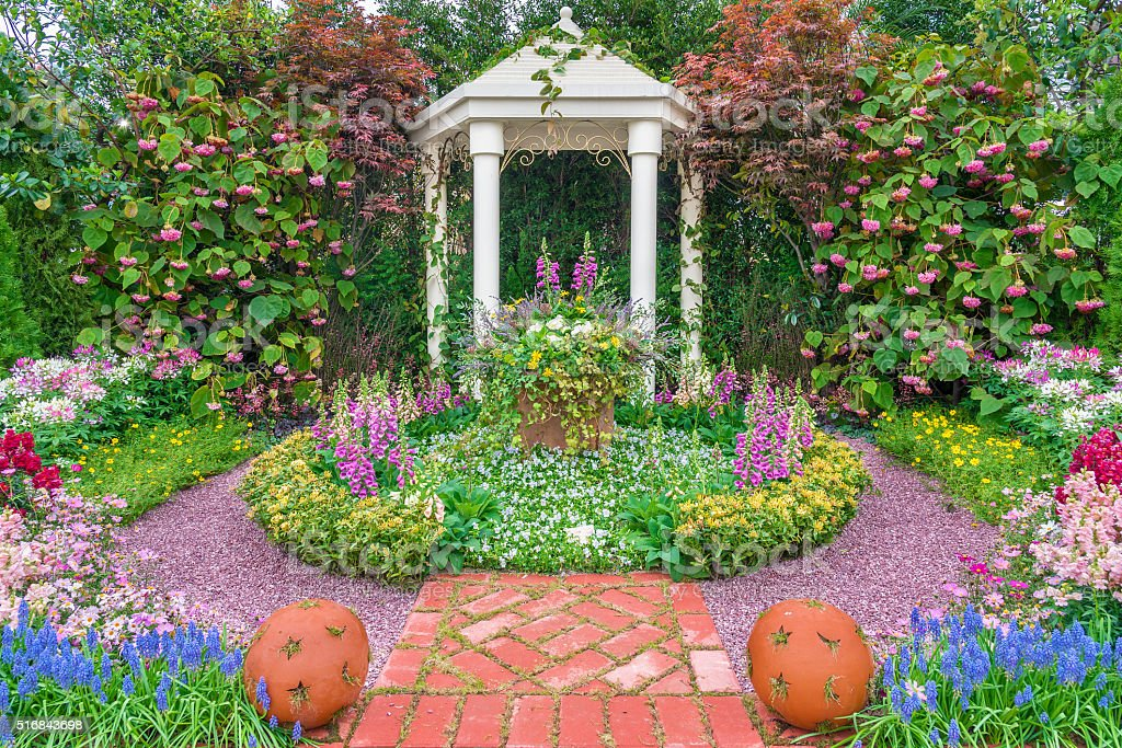 pavilion in garden stock photo
