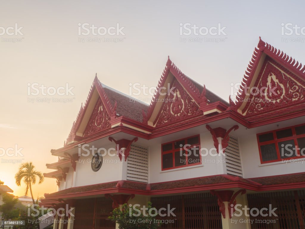 pavilion in temple stock photo