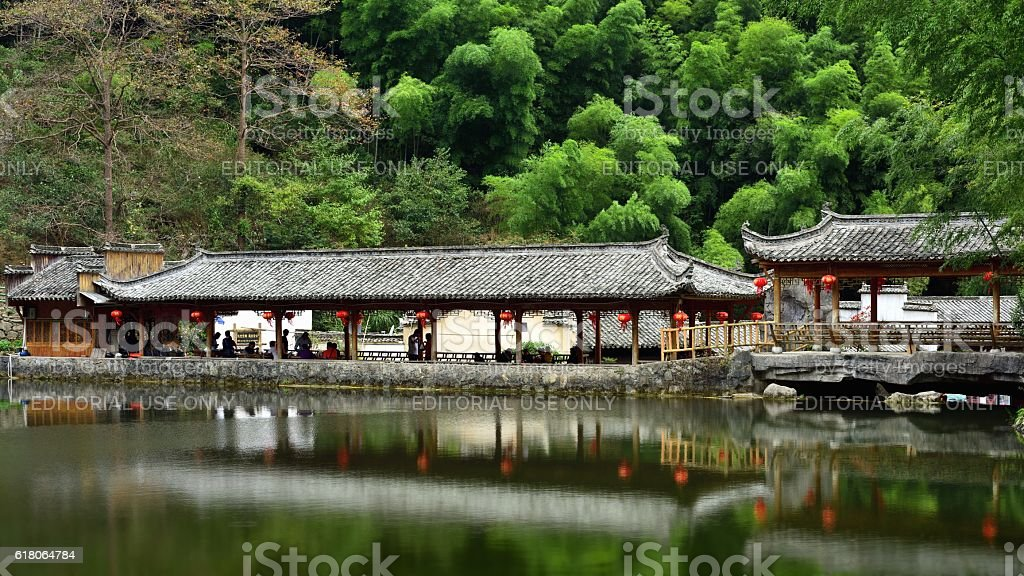 Pavilion in the bamboo forest 01 stock photo