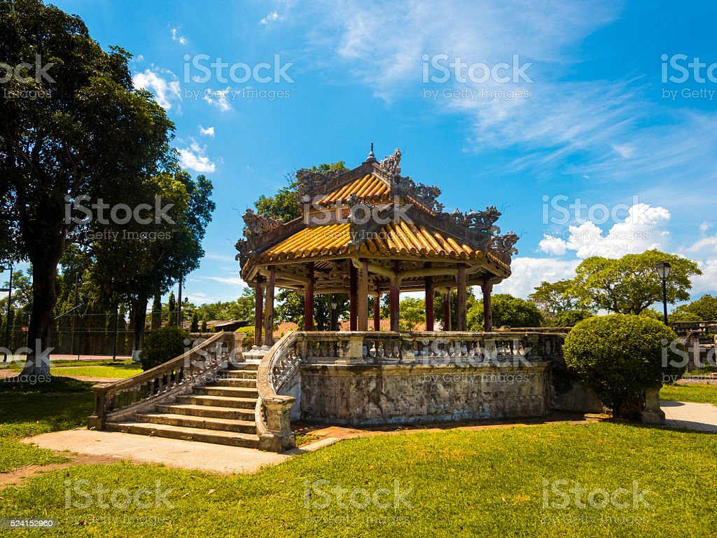 Pavilion in the Imperial City in Hue, Vietnam stock photo