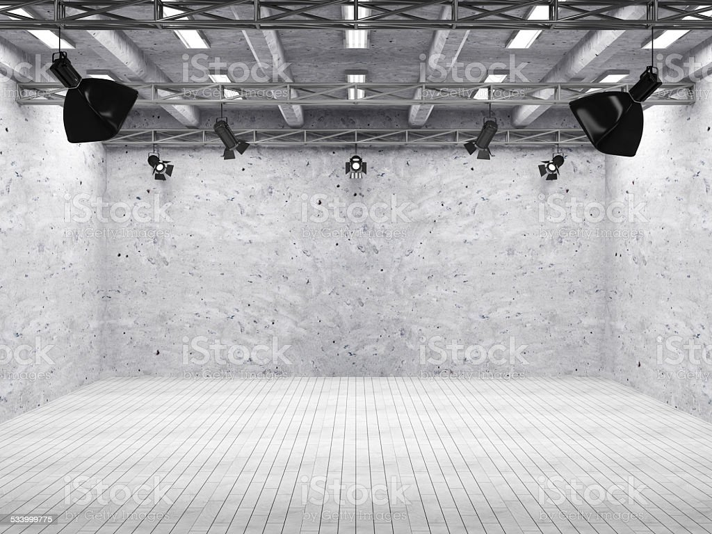 Pavilion Interior of Modern Film Studio with Light Equipment stock photo