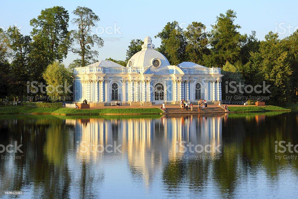 pavilion on lake in Pushkin park St. Petersburg stock photo