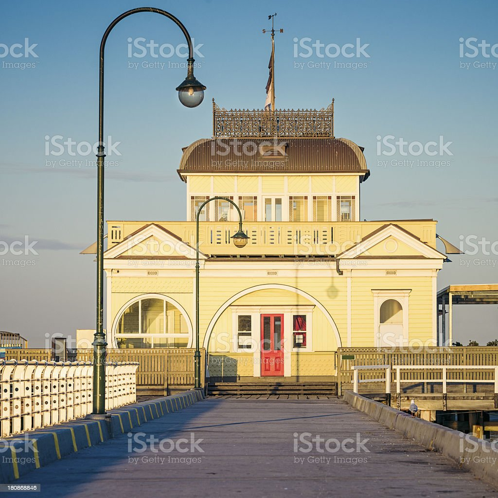 Pavilion on St Kilda's Pier in Melbourne, Australia stock photo