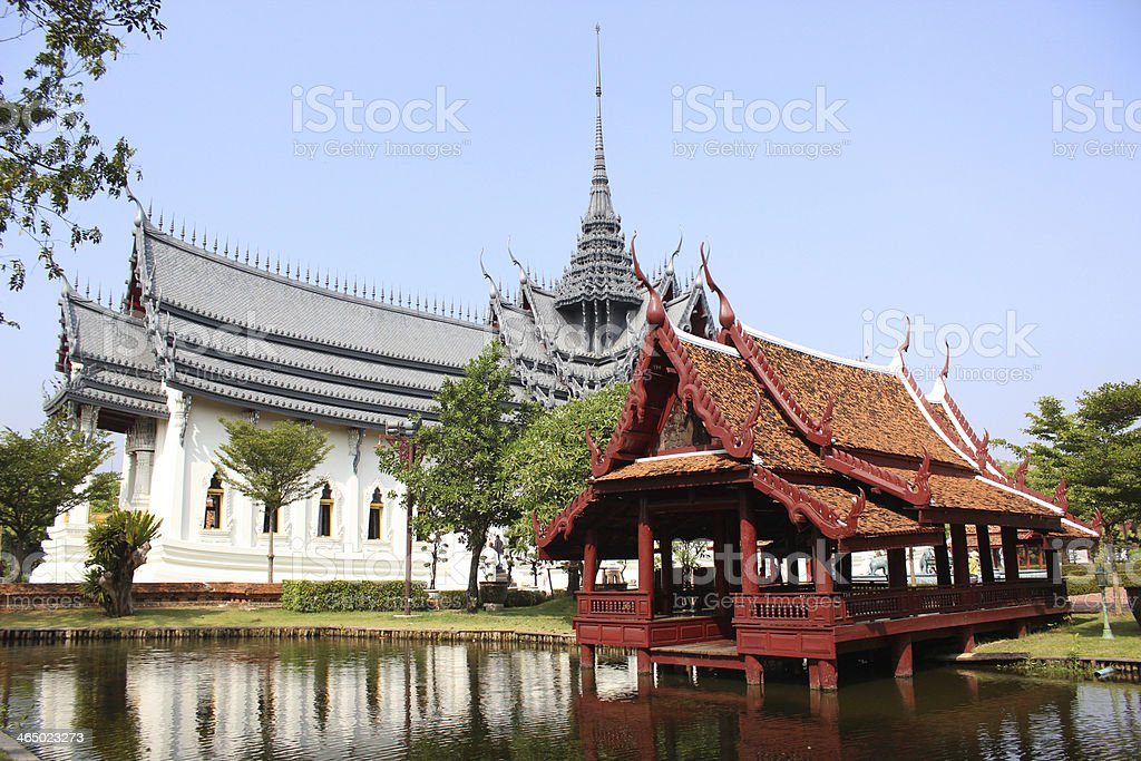Pavilion Sanphet Prasat Palace at ancient City (Thailand) stock photo