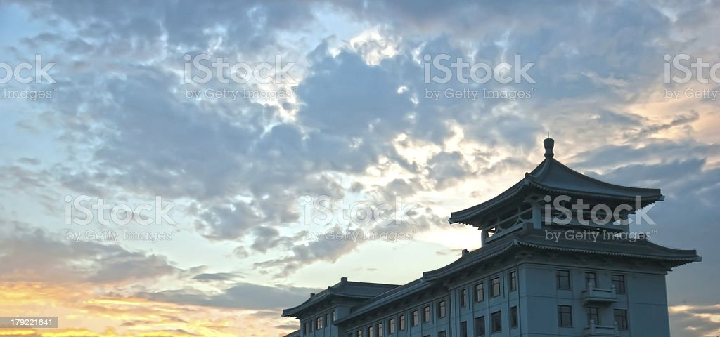 Pavilion styles building at dusk royalty-free stock photo
