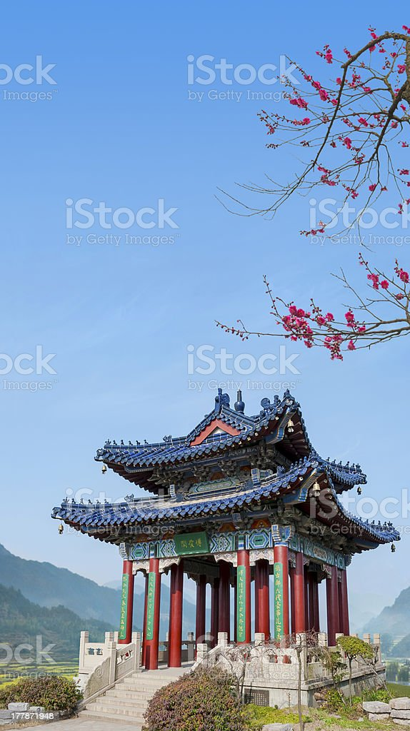Pavilion under the plum blossom stock photo