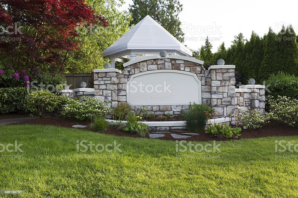 Pavilion with Stone Front Fence royalty-free stock photo