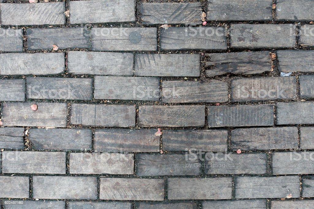 Paving Block Wood Background stock photo