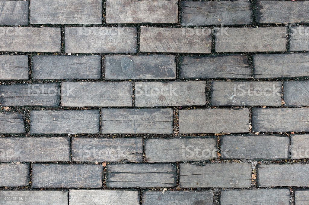 Paving Block Wood Background stock photo