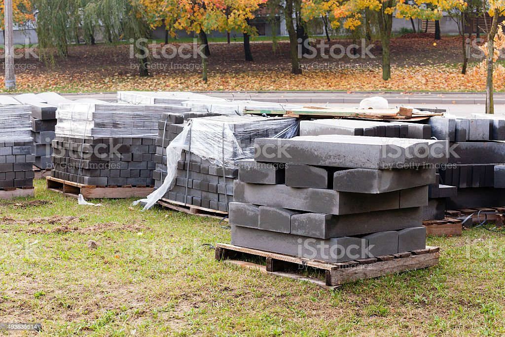 paving slabs on a pallet stock photo