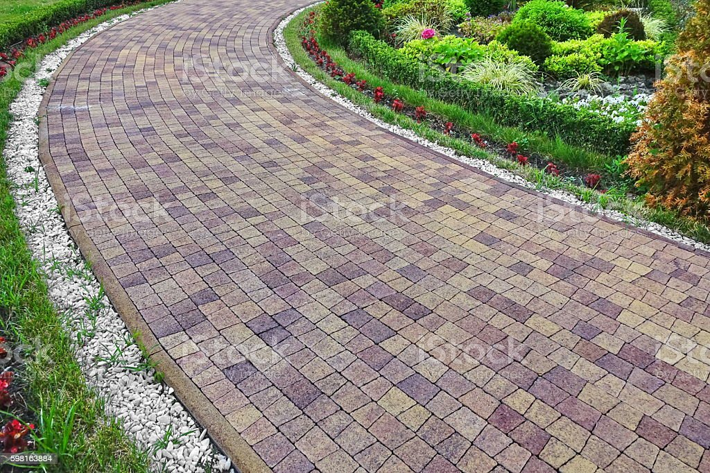 Paving Stone Floor Road And Planting Of Greenery Decor stock photo