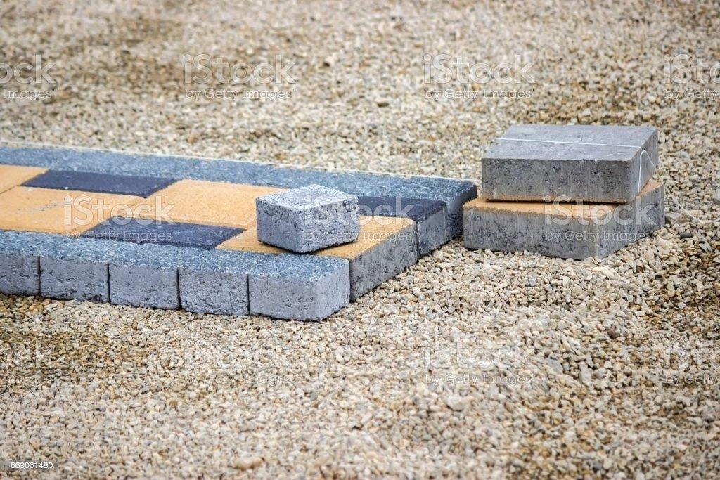 Paving stones for sidewalk stock photo