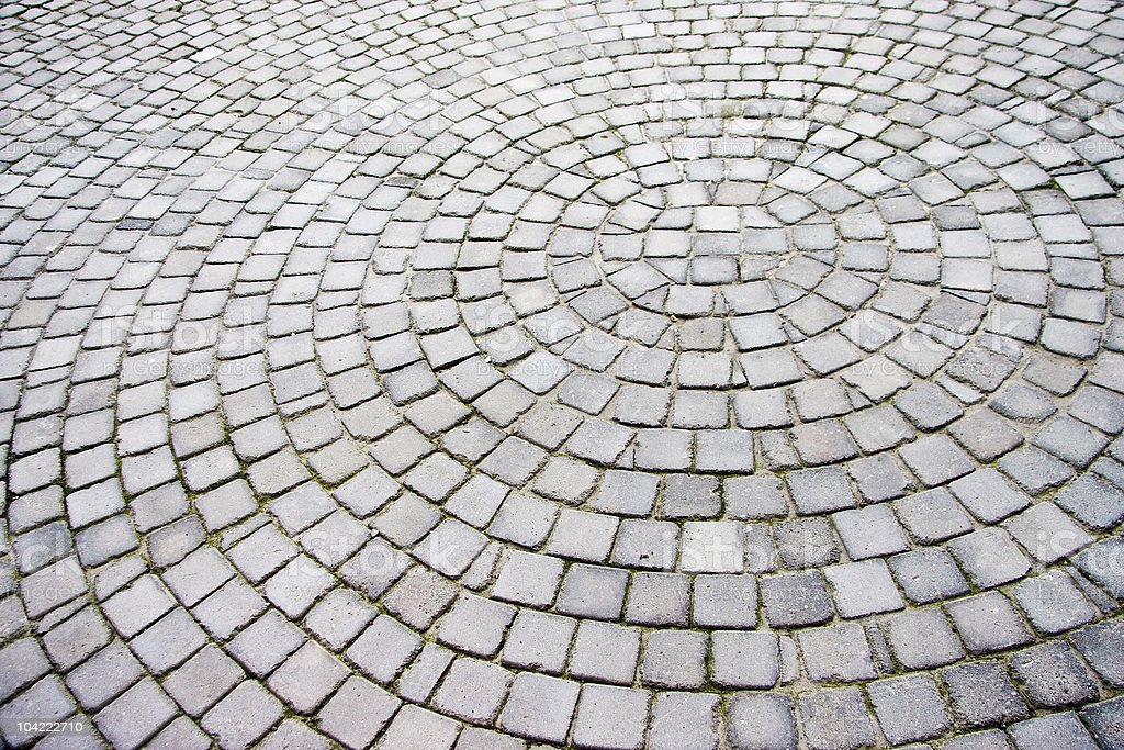 Paving stones laid out in a radial pattern stock photo