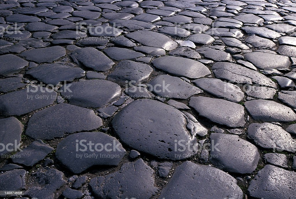 paving stones of volcanic basalt royalty-free stock photo