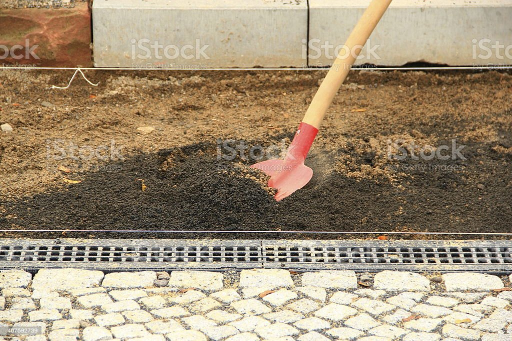 Paving stones will be relaid royalty-free stock photo