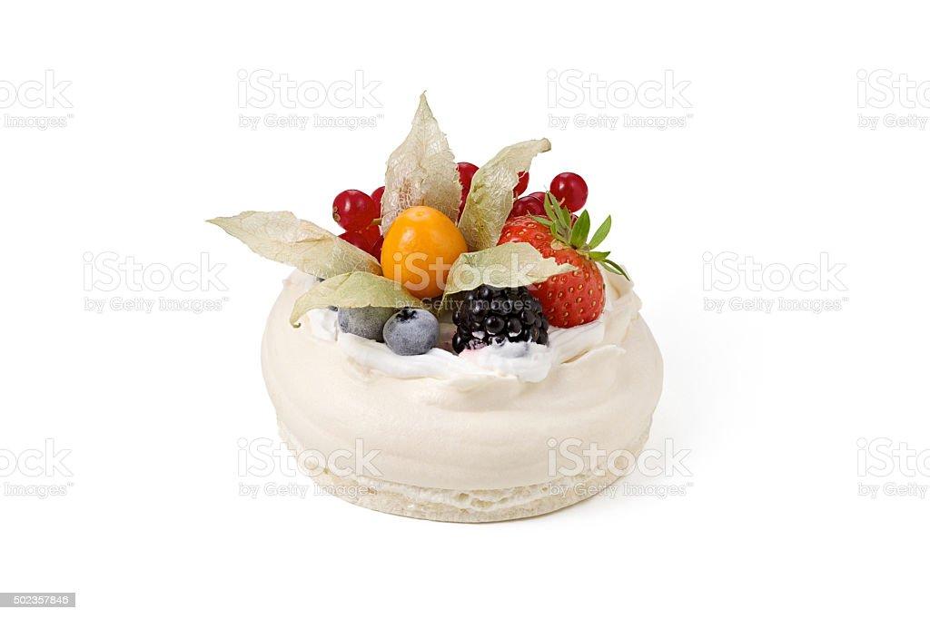 Pavlova cake isolated stock photo