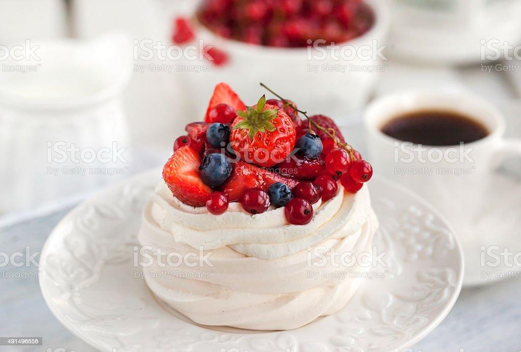 Pavlova meringue cake with fresh berries stock photo