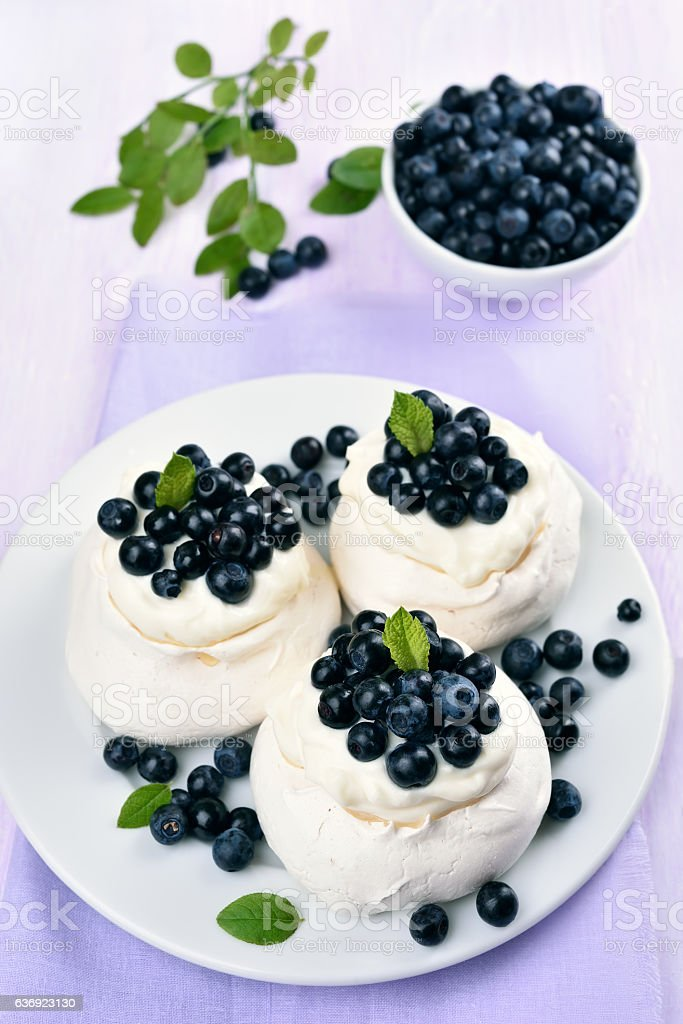 Pavlova meringue cakes stock photo