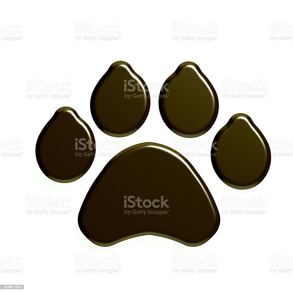 Paw Print isolated in white background. 3D Render Illustration stock photo