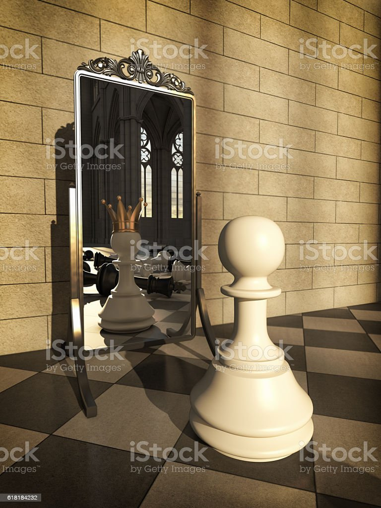 Pawn with golden crown across the mirror stock photo