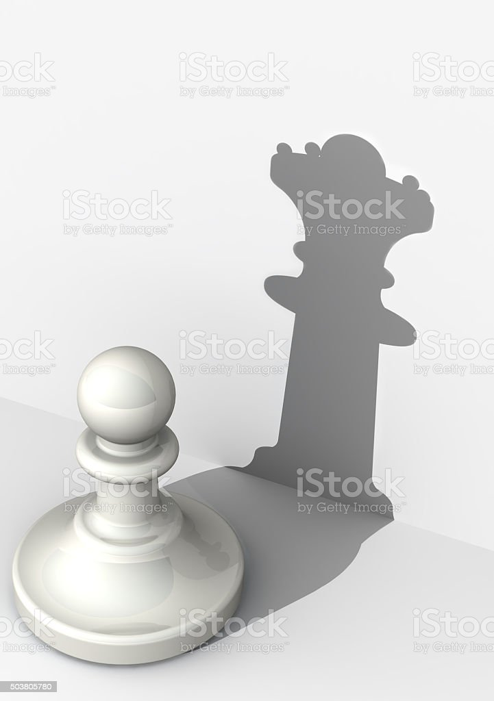 Pawn with high self-esteem. Chess piece stock photo
