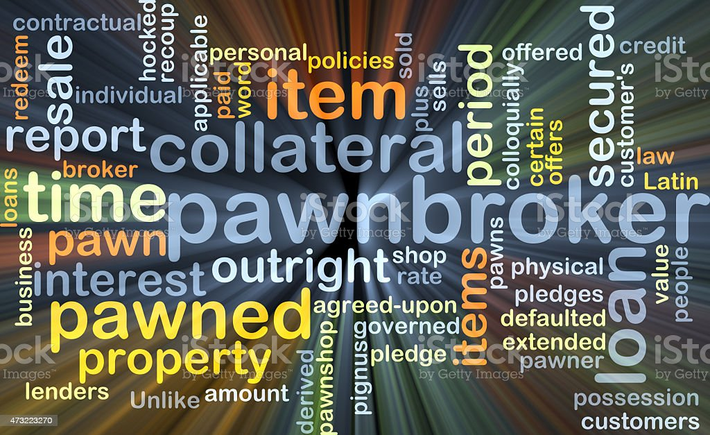 Pawnbroker background concept glowing stock photo