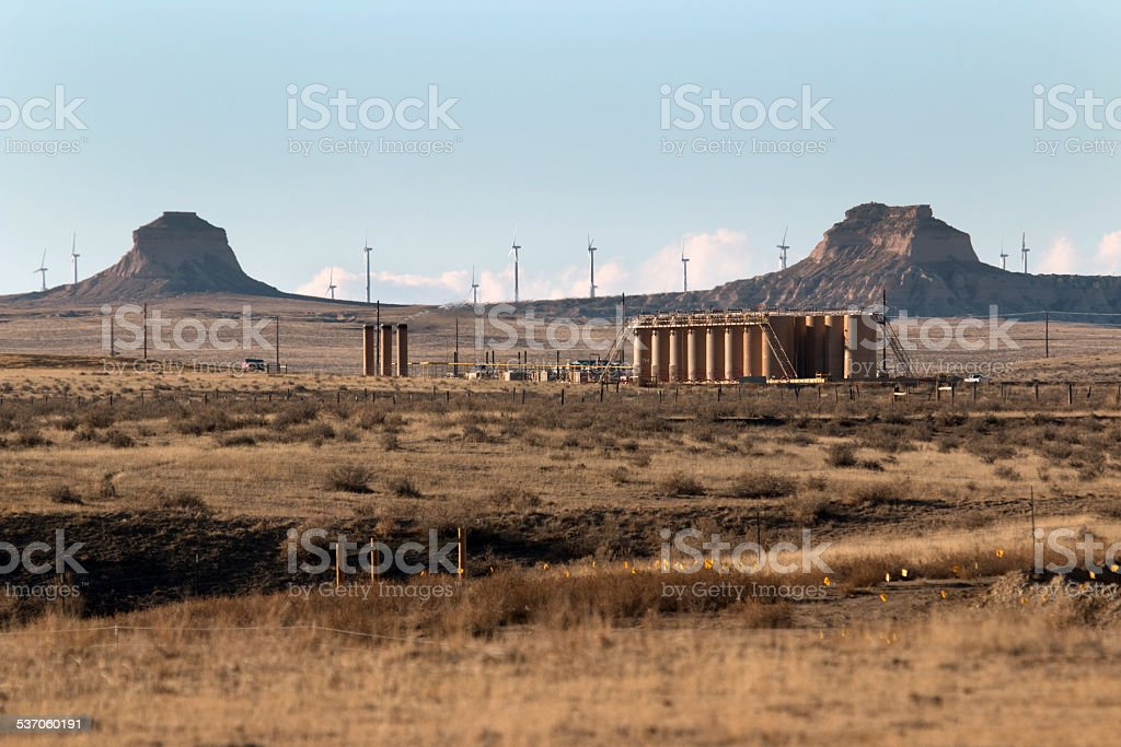 Pawnee Buttes wind and petroleum pollution production Colorado stock photo
