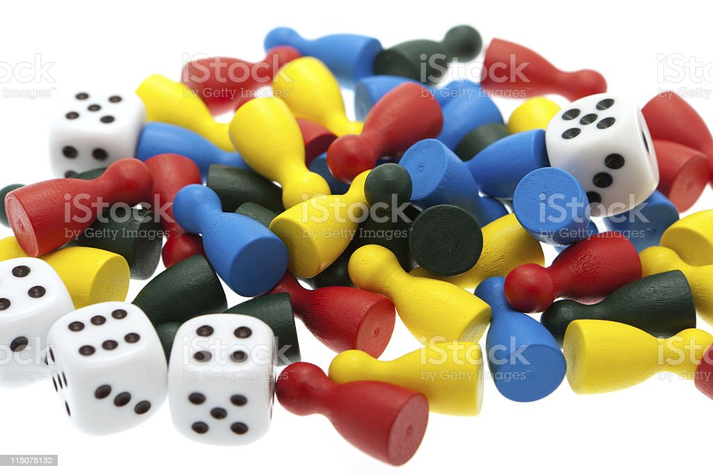 Pawns and dice stock photo