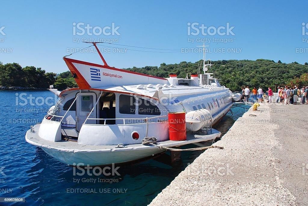Paxos hydrofoil, Greece stock photo