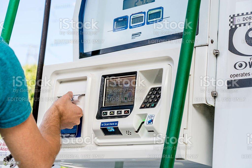 Pay at Pump at Petrol Station stock photo