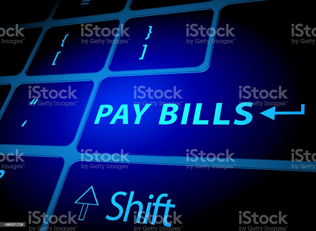 pay bills button on computer keyboard vector art illustration
