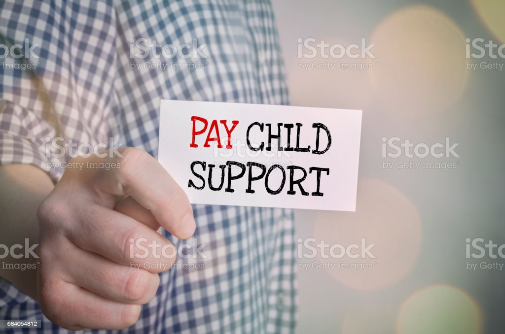 Pay child support card stock photo