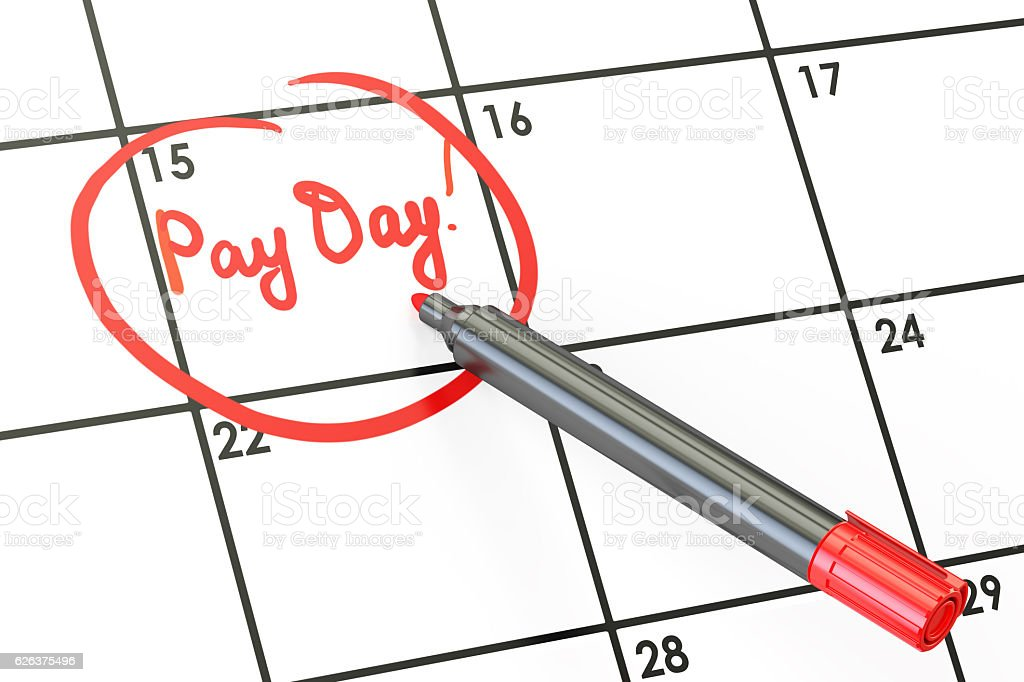 Pay day on calendar concept, 3D rendering stock photo